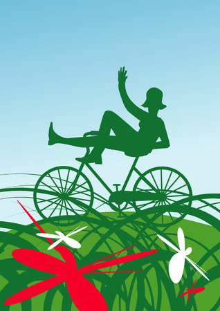 healthy path: Woman silhouette on bike on the summer meadow. Vector illustration.