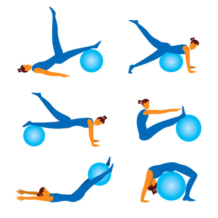pilates ball: Set of fitness icons with Woman exercising with ball. Vector illustration.