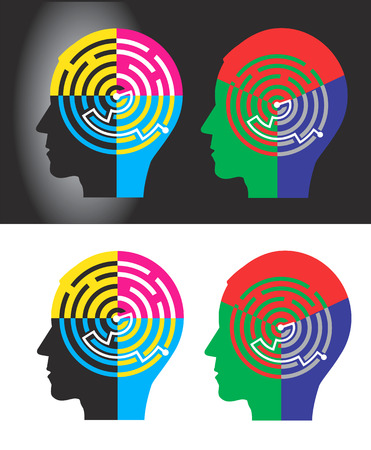 rgb: Male head silhouettes with maze symbolizing CMYK and RGB color modes. Vector illustration.