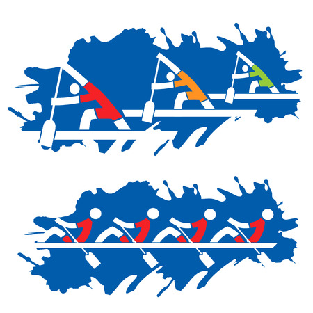 work boat: Rowing competition, stylized illustration on the blue grunge background.
