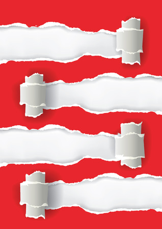 ripped paper: Red ripped paper with four places for your text or image, useful as template for your documents.