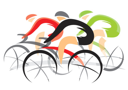 road bike: Colorful expressive drawing of three racing cyclists. illustration.