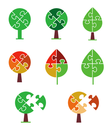 puzzle set: Set of  tree icons and symbols stylized as puzzle. Vector illustration. Illustration