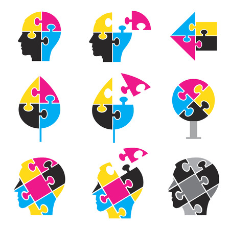 polygraph: Puzzle icons symbolizing color print solutions.illustration.