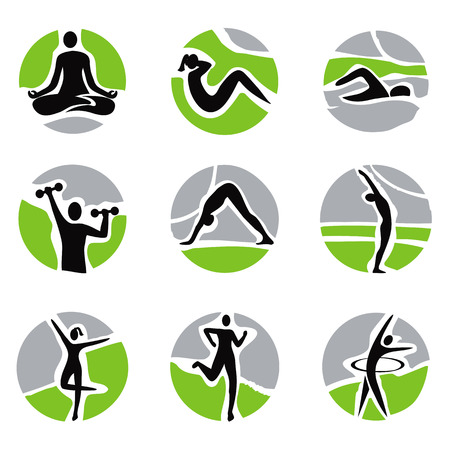 swimmer: Set of icons with fitness, yoga, health activities. Vector illustration.