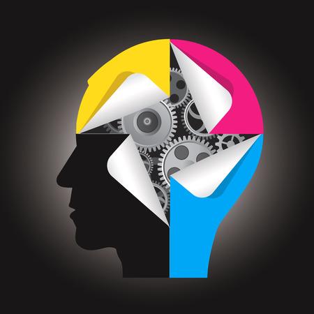 인쇄 잉크에 기어 및 스티커와 인간의 머리 실루엣. 컬러 인쇄의 제시에 대 한 개념입니다. 삽화.