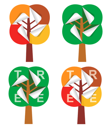 summer trees: Four stylized paper trees, with sticker in summer and autumn colors. Vector illustration. Illustration