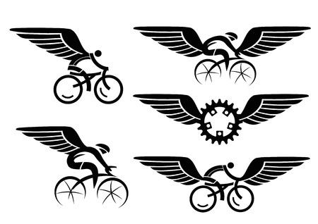 ciclismo: Conjunto de iconos de ciclismo negros con alas. Ilustración del vector.