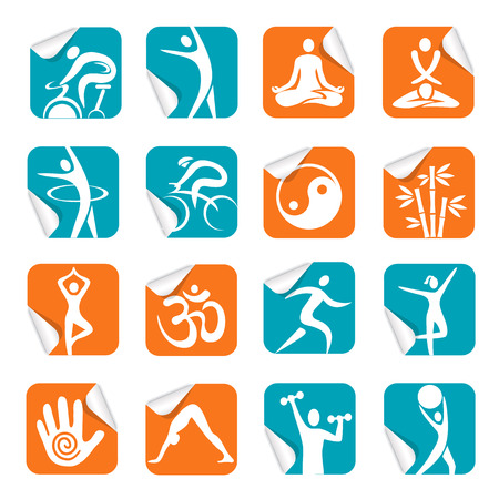 spinning: Set of colorful Square Stickers with fitnes, yoga, spa icons. Vector illustration. Illustration