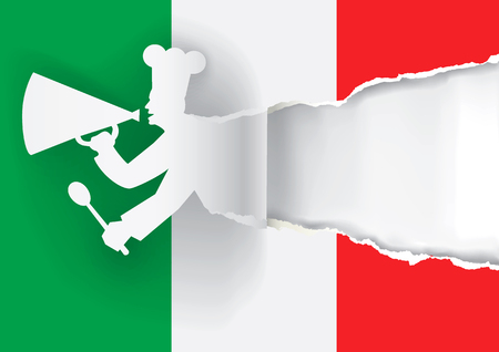 caller: Paper cook caller into a megaphone on the italy flag background, with bottom layer for your image or text. Vector illustration.