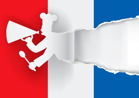 caller: Paper cook caller into a megaphone on the french  flag background, with bottom layer for your image or text. Vector illustration.