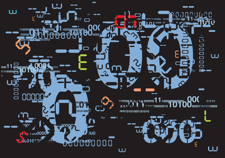 Dark abstract  Background with digital numbers and binary code.Vector illustration.