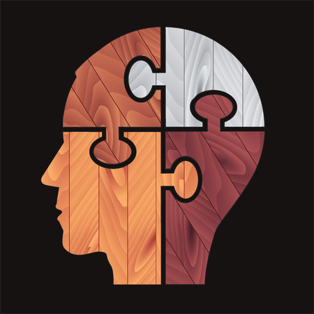 Puzzle Human head with four color Wood Texture promoting wood and paint on wood. Vector available.