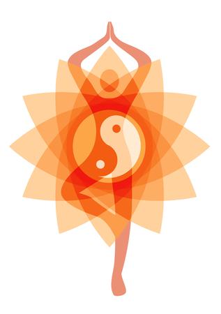 Orange yoga abstract background with  yoga position and ying and yang symbol.