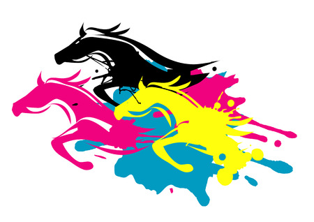 art and craft: Three running horses as splatters in printing inks.