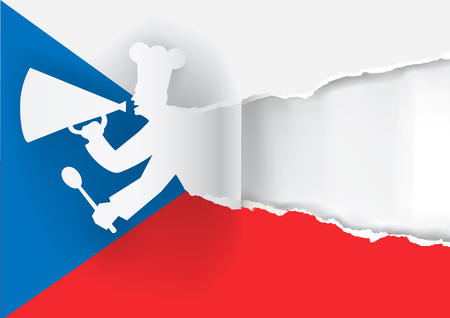 caller: Paper cook caller into a megaphone on the Czech  flag background, with bottom layer for your image or text. Vector available.