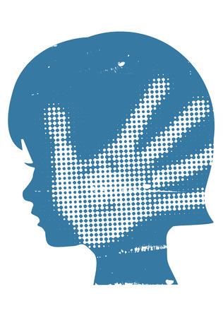 Meisje hoofd grunge silhouet met met han DDruk na de hand klap. Vector beschikbaar.