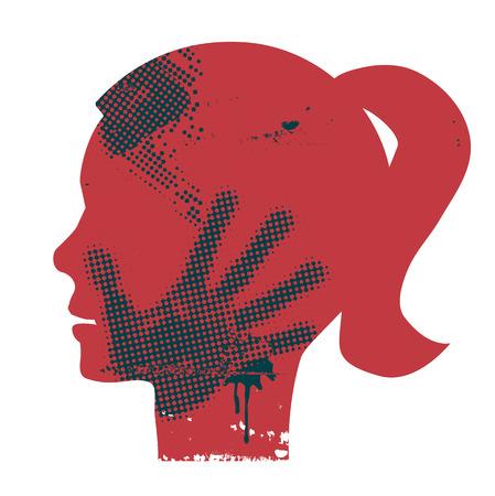 abuso sexual: Silueta joven grunge cabeza Mujer con impresión de la mano en la cara. Vector disponible.