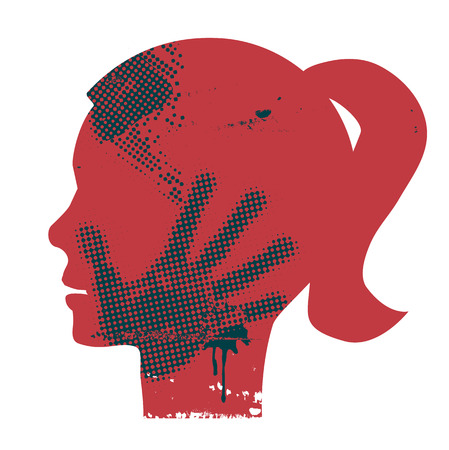 abused: Young Woman head grunge silhouette with hand print on the face. Vector available.
