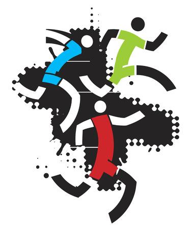 Un grunge estilizado dibujo de tres corredores. Vector disponible. Foto de archivo - 43684081