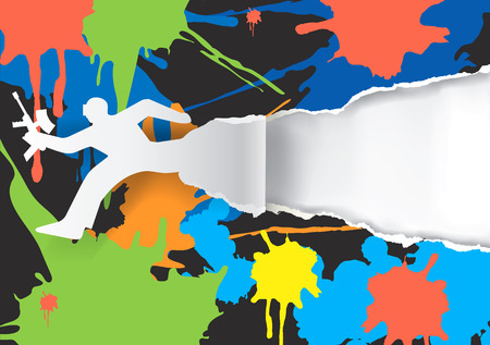 fleck: Paintball player ripped paper background with With colorful stains. Vector illustration. Vector available.