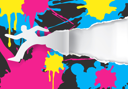 ripped paper: Male silhouette ripped paper background with With colorful stains.  Concept for presenting color printing press.Vector available.