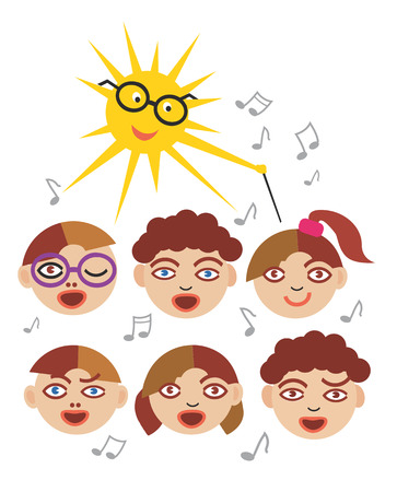 songbook: Six children choir singing and the sun as a choirmaster. Vector available.