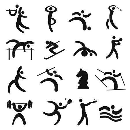 Set of black sport icons Vectores