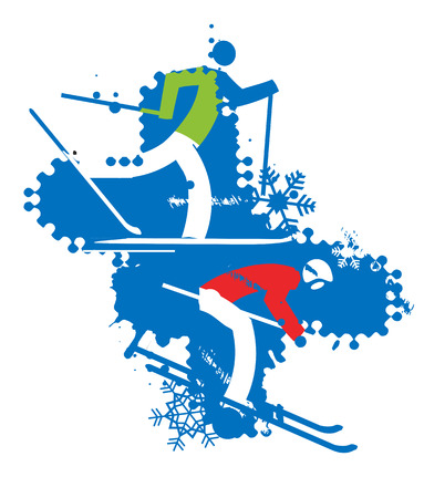 crosscountry: A stylized drawing of cross-country ski and ski competitors.  on the grunge background . Vector available. Illustration