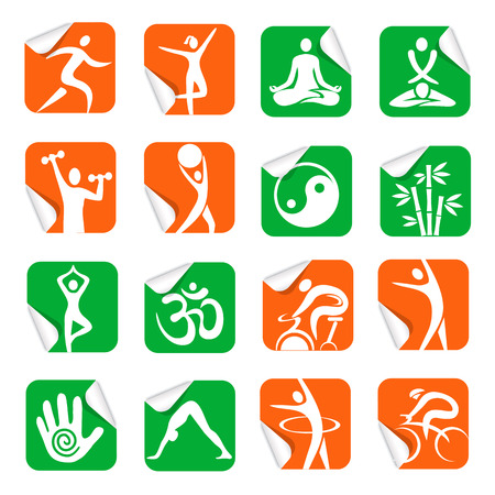 masseur: Set of colorful Square Stickers with fitness, yoga, spa icons. Vector illustration.