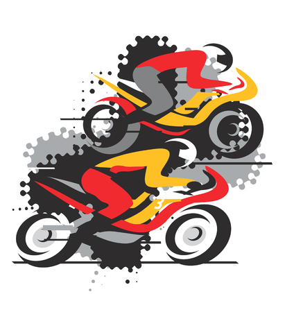 competitors: Two motorcycle competitors in the final stretch on the grunge background. Vector available.