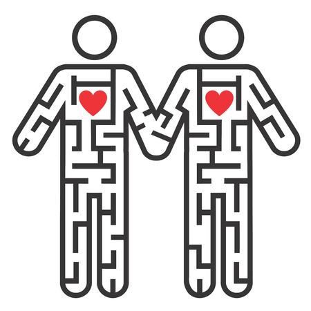 sexualidad: Laberinto forma como Gay pareja pictograma sexo masculino que simboliza la búsqueda de amor. Vector disponible.