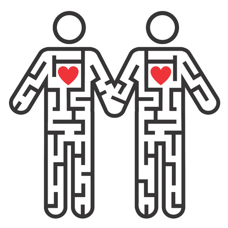 gay: Maze shaped as Gay male couple pictogram symbolizing searching for love. Vector available. Illustration
