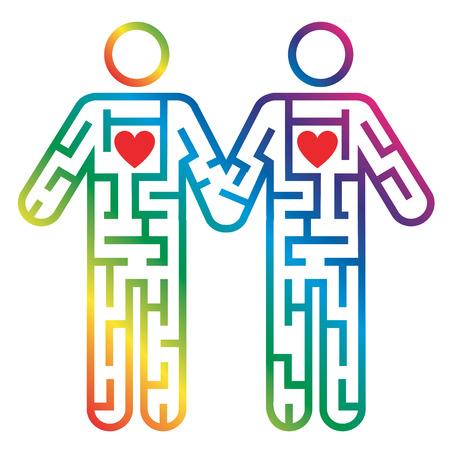 boda gay: Laberinto forma como pareja de hombres gay colorido pictograma que simboliza la búsqueda de amor. Vector disponible.