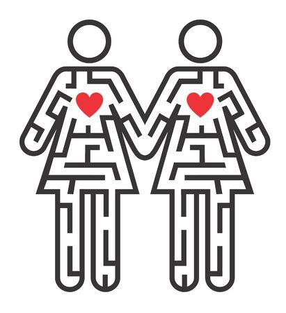 sexualidad: Laberinto forma como Gay pareja pictograma femenina que simboliza la búsqueda de amor. Vector disponible. Vectores