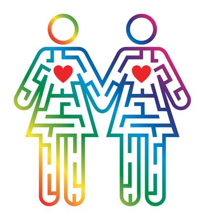 boda gay: Laberinto forma como Gay femenina par colorido pictograma que simboliza la búsqueda de amor. Vector disponible.
