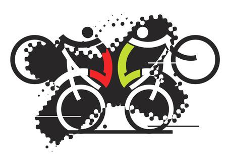 Two freestyle cyclists on the grunge background. Stylized vector illustration. Ilustração