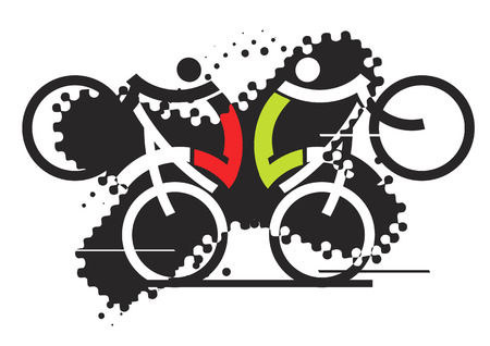 off road biking: Two freestyle cyclists on the grunge background. Stylized vector illustration. Illustration