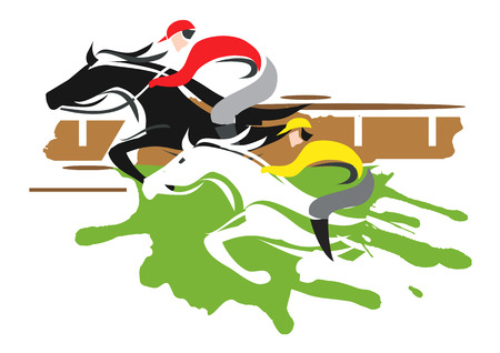 corse di cavalli: Due fantini racing a piena velocità. Nero Illustrazione vettoriale su sfondo bianco Vettoriali