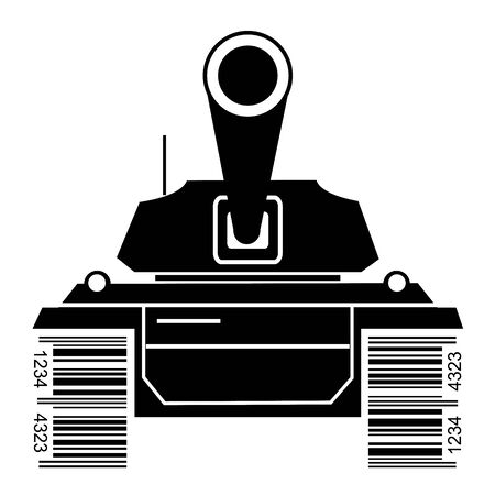 ean: Black silhouette of battle tank with a bar code instead of tracks. Concept for commerce and  market and price war. Vector available. Illustration