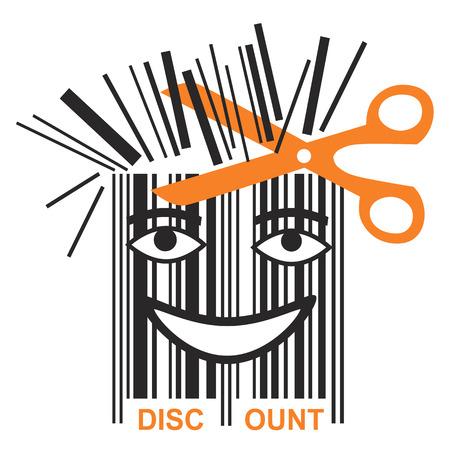 code: Funny BAR code discount. Scissors shortening bar code mascot, symbol price discounts. Vector available.