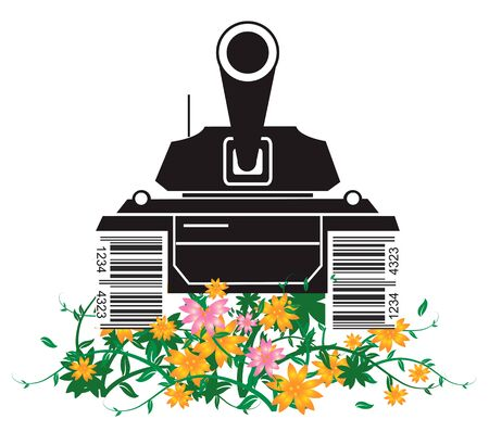 ean: Nature versus consumerism. Black silhouette of battle tank with a bar code instead of tracks, destroying flowers and grass. Vector illustration.