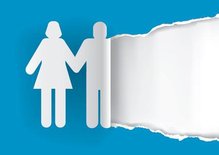 siluetas mujeres: Silueta Pareja rasga papel azul con lugar para el texto o la foto. Concepto original de la invitación de la boda. Vector disponible.