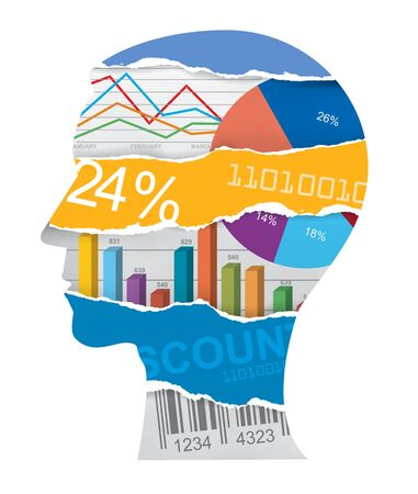 ean: Economist sales manager head silhouette Male head silhouette with charts and numbers symbolizing economy. Vector available. Illustration