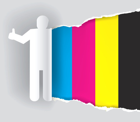 discovering: Color printing promotion background. Paper silhouette of a man with thumbs-up, ripping paper with print colors. Concept for presenting of color printing. Vector available.