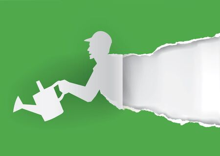 ewer: Paper silhouette of Gardener with watering cans ripping paper background. With place for your text or image. Vector available.