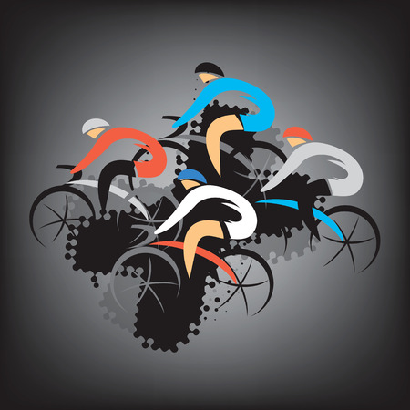 healthy path: Colorful expressive drawing of four racing cyclists on the black background.. Vector available.
