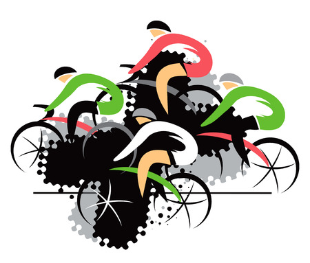 competitors: Cycling competitors.  Colorful expressive drawing of four racing cyclists on the black background.. Vector available. Illustration