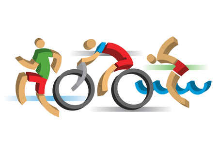 biking: Three 3D design stylized  athletes symbolizing triathlon, swimming, running and cycling. Vector available.