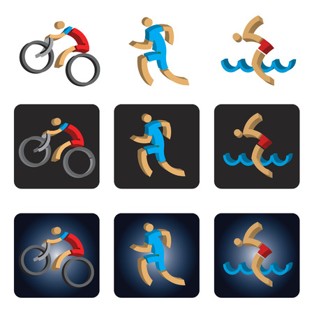 three dimensional: Three dimensional Triathlon icons. Three dimensional design stylized icons with athletes symbolizing triathlon, swimming, run  and cycling. Vector available.